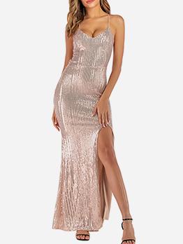Backless Crisscross Slit Sequin Girls Maxi Dress