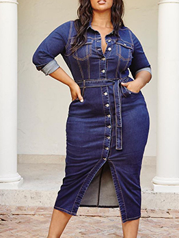 Fashion Button Down Denim Midi Dress
