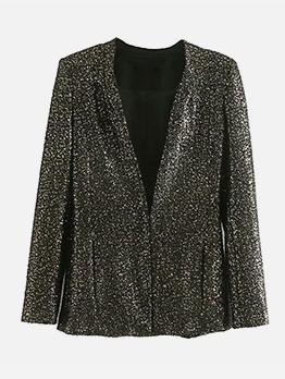 Fashion Solid V Neck Sequined Coat