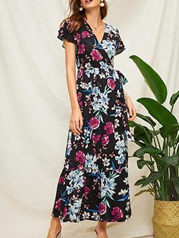 V Neck Floral High Waist Long Wrap Dress