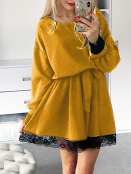 Lace Hem Smart Waist Woolen Long Sleeve Dress