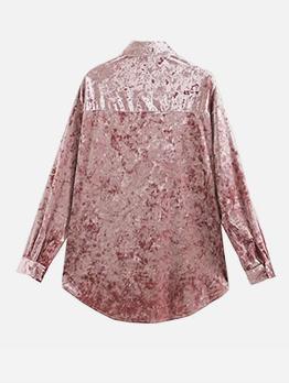 Simple Design Pure Color Velvet Blouse