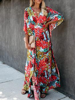 Bohemia Style V Neck Floral Maxi Dress