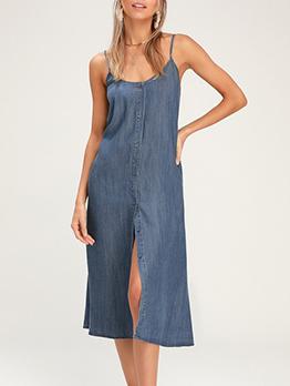 Backless Solid Cardigan Sleeveless Denim Dress
