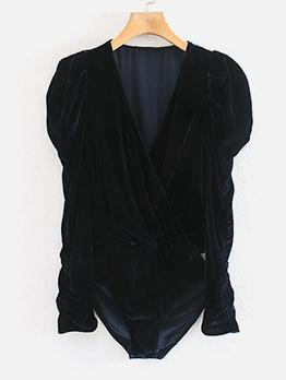 Solid Puff Sleeve Velvet Bodysuit