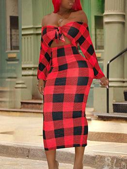 Bow Decor Plaid Off Shoulder Long Sleeve Dress