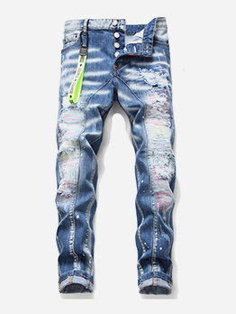 Creative Button Up Men Ripped Jeans