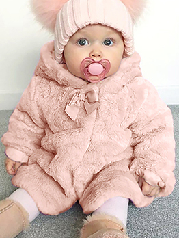 Hooded Collar Plush Thicker Winter Coat For Girls