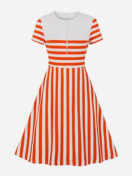 Crew Neck Striped Short Sleeve Dress Casual