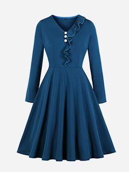 Vintage Style V Neck Large Hem Pleated Blue Dress