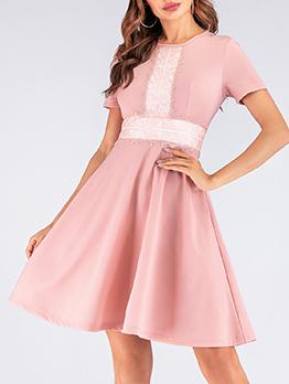 Elegant Lace Panel Large Hem Short Sleeve Dress