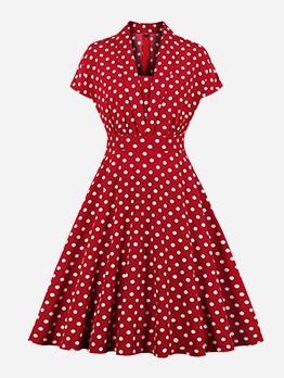Autumn V Neck Large Hem Polka Dots Dress