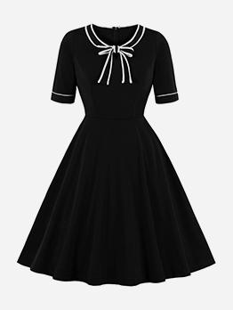 Bow Neck Large Hem Fitted Little Black Dress