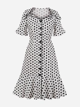 Vintage Single-Breasted V Neck Polka Dot Midi Dress
