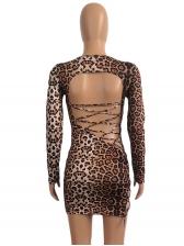 Night Club Crisscross Backless Leopard Long Sleeve Dress