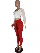 Contrast Color Tie-Wrap Crop Top And Pants Set