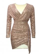 Deep V Neck Long Sleeve Sequin Bodycon Dress