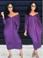 Vacation Pure Color Zipper Up Loose Maxi Dresses