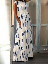 National Printed Sleeveless Beach Maxi Dress