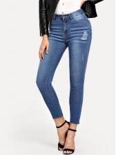 Casual Mid Waist Stretch Skinny Jeans