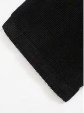 Fashion Solid Black Corduroy Pants