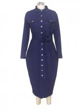 Fashion Button Down Denim Midi Dress