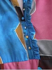 Euro Facial Pattern Casual Maxi Dresses