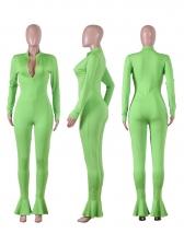 Solid Color Zipper Ruffled Hem Skinny Jumpsuit