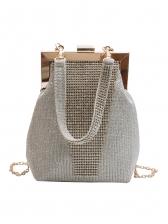 Glitter Rhinestone Metal Splicing Fashion Handbags