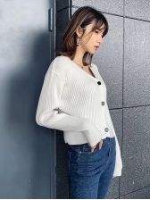 V Neck Solid Ribbed Sweater