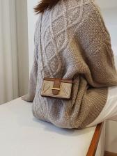 Rectangle Matt Pu Patchwork Chain Shoulder Bag
