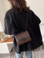 Threads Rhombus Solid Pu Chain Shoulder Bag