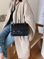Spin Lock Solid Threads Rhombus Chain Shoulder Bag