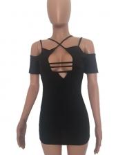 Deep V Neck Short Sleeve Black Ladies Dress