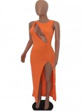 Sexy Hollow Out Split Hem Orange Evening Dress