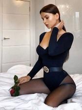 Low-Cut Solid Long Sleeve Bodysuit For Women