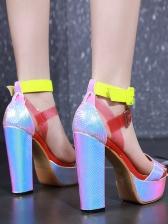 Color Strap Chunky Heel Platform Sandals