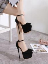 Bow Decor Closed Toe Platform Heels
