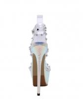 Rivet PVC transparent Strap Platform Heels