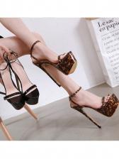 Leopard Printed Peep Toe Platform Ankle Strap Heel