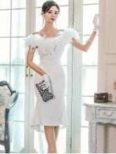 Fur Patchwork Mermaid Midi Dress