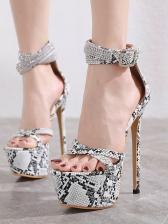 Snake Printed Peep Toe Stiletto Platform Heels