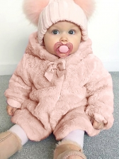 Hooded Collar Plush Thicker Winter Coat For Girls