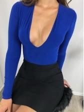 Sexy Deep V Neck Long Sleeve Bodysuit For Women