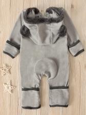 Hooded Collar Bear Shape Long Sleeve Sleepsuit
