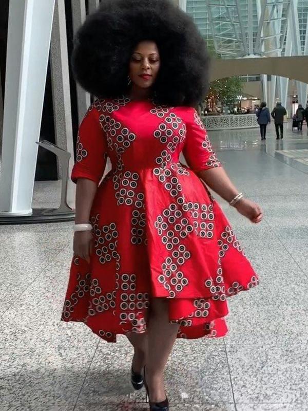 Irregular Hem Print Plus Size African Dress For Women