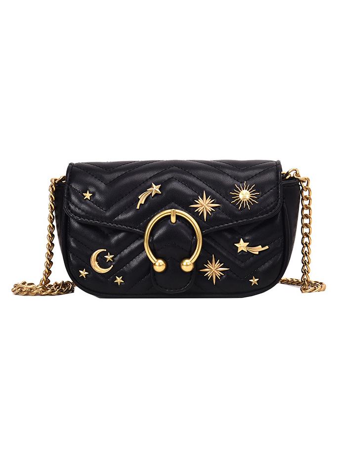 Metal Decorated Golden Chain Ladies Shoulder Bags
