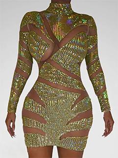 Cut Out Rhinestone Long Sleeve Bodycon Dress