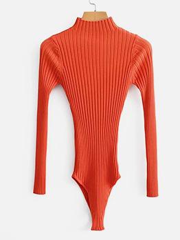 Pure Color Knit Long Sleeve Bodysuit