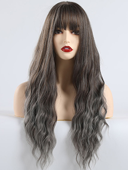 Brown Gradual Change Gray Neat Bang Long Curly Synthetic Wigs